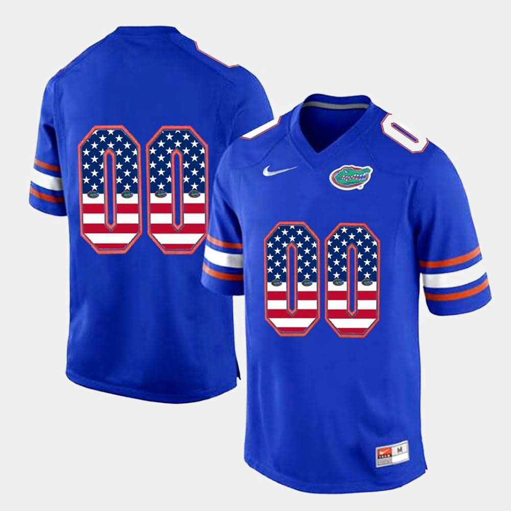 Men's Florida Gators #00 Custom US Flag Fashion Royal Blue Nike NCAA College Football Jersey KEH277HJ