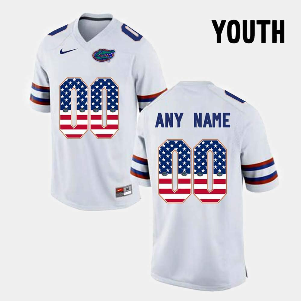 Men's Florida Gators #00 Custom US Flag Fashion White Nike NCAA College Football Jersey XFA277WJ