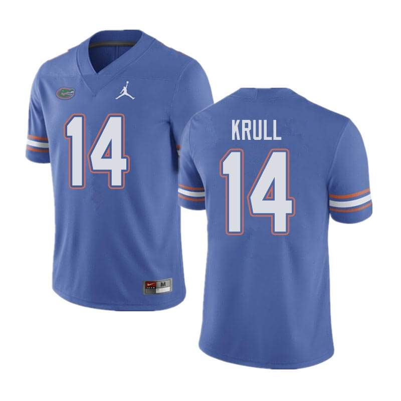 Men's Florida Gators #14 Lucas Krull Blue Jordan Brand NCAA College Football Jersey DLY378FJ