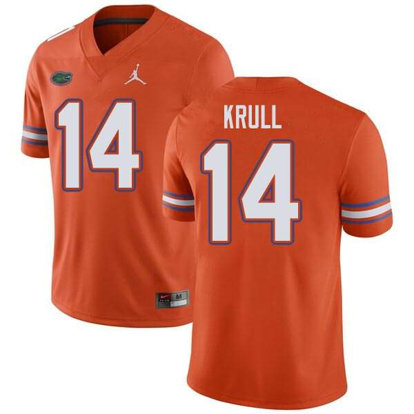 Men's Florida Gators #14 Lucas Krull Orange Jordan Brand NCAA College Football Jersey UQP246JJ