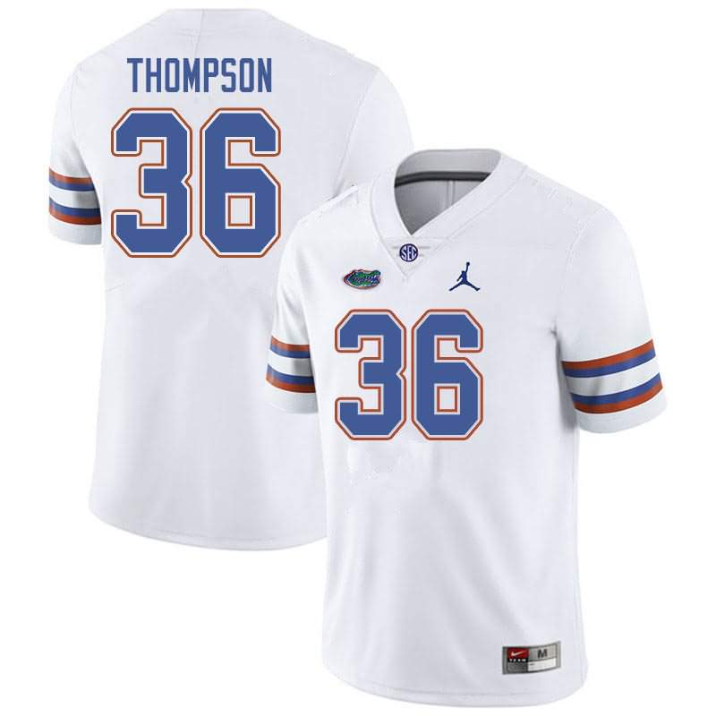 Men's Florida Gators #36 Trey Thompson White Jordan Brand NCAA College Football Jersey QDG250AJ