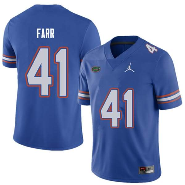 Men's Florida Gators #41 Ryan Farr Royal Jordan Brand NCAA College Football Jersey QIX263XJ