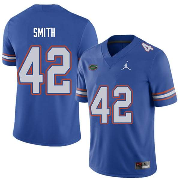 Men's Florida Gators #42 Jordan Smith Royal Jordan Brand NCAA College Football Jersey ZHV517LJ