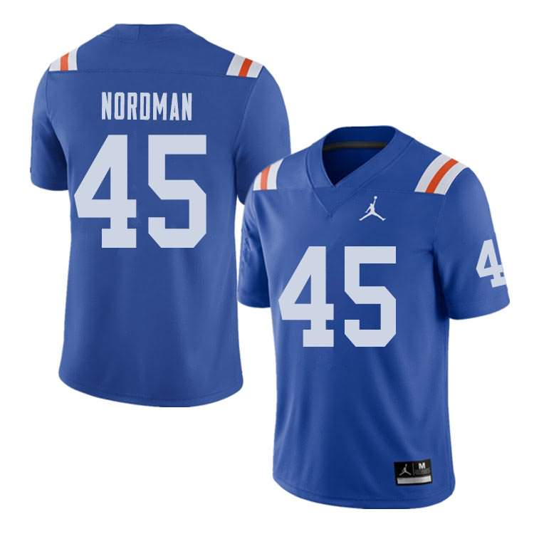 Men's Florida Gators #45 Charles Nordman Alternate Throwback Jordan Brand NCAA College Football Jersey MLP826NJ