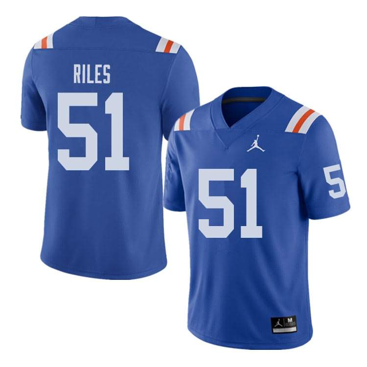 Men's Florida Gators #51 Antonio Riles Alternate Throwback Jordan Brand NCAA College Football Jersey YZJ083TJ