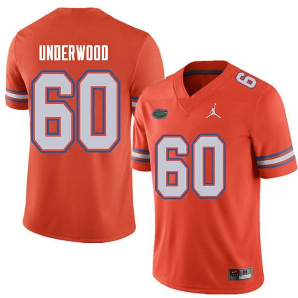 Men's Florida Gators #60 Houston Underwood Orange Jordan Brand NCAA College Football Jersey EHO088LJ