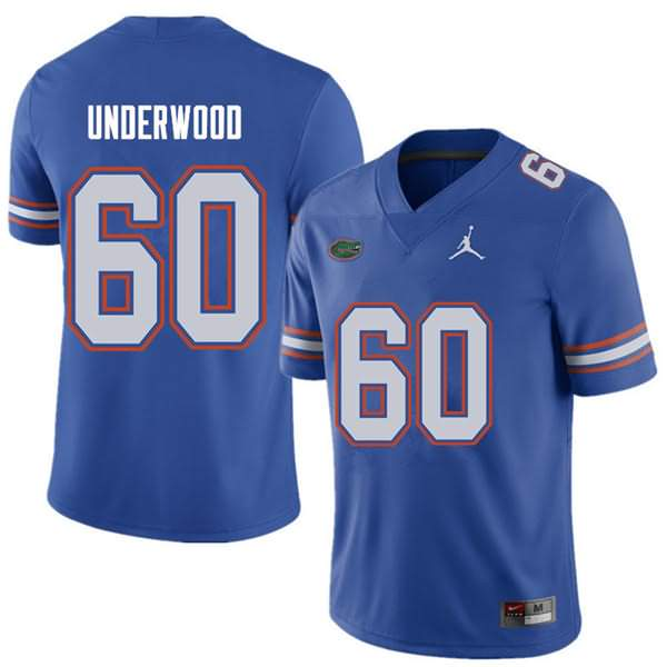 Men's Florida Gators #60 Houston Underwood Royal Jordan Brand NCAA College Football Jersey UAC727KJ