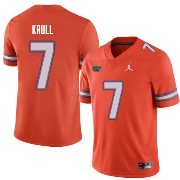 Men's Florida Gators #7 Lucas Krull Orange Jordan Brand NCAA College Football Jersey WQG565QJ