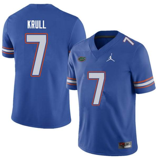 Men's Florida Gators #7 Lucas Krull Royal Jordan Brand NCAA College Football Jersey BSH741QJ