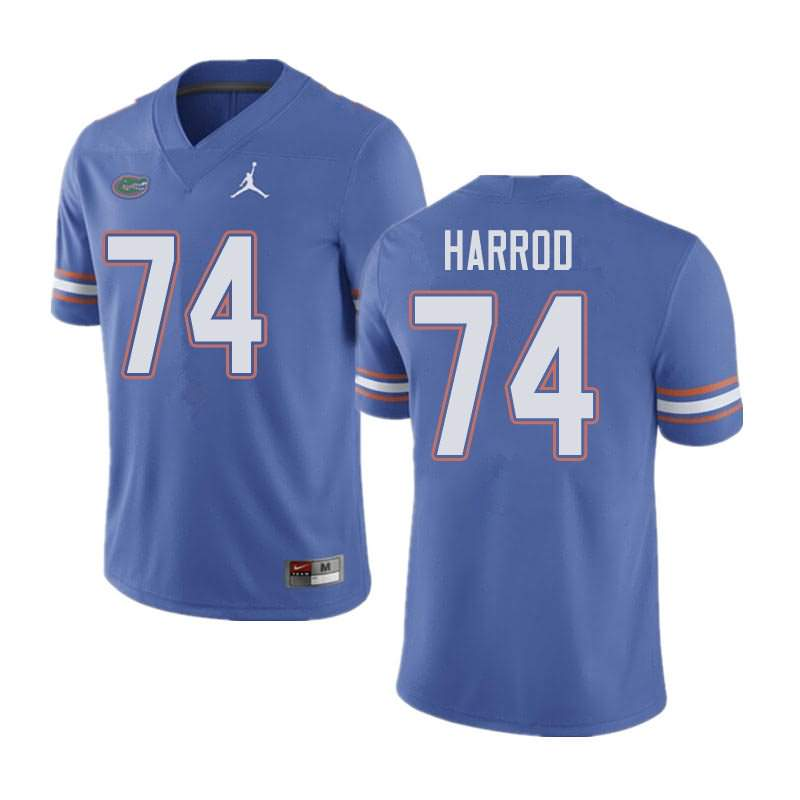 Men's Florida Gators #74 Will Harrod Blue Jordan Brand NCAA College Football Jersey PYL333FJ