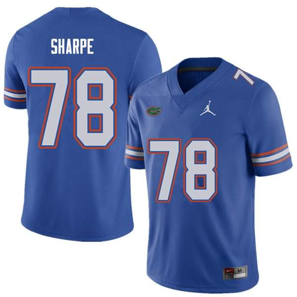 Men's Florida Gators #78 David Sharpe Royal Jordan Brand NCAA College Football Jersey MPY672QJ