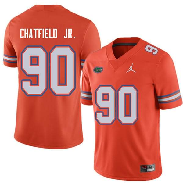 Men's Florida Gators #90 Andrew Chatfield Jr. Orange Jordan Brand NCAA College Football Jersey ZCP847BJ