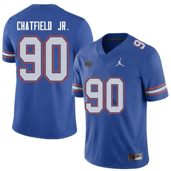Men's Florida Gators #90 Andrew Chatfield Jr. Royal Jordan Brand NCAA College Football Jersey DPX745BJ