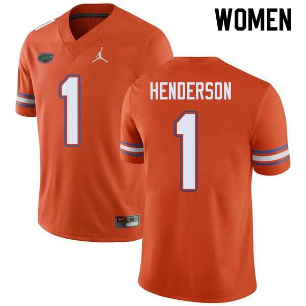 Women's Florida Gators #1 CJ Henderson Orange Jordan Brand NCAA College Football Jersey RTU450FJ