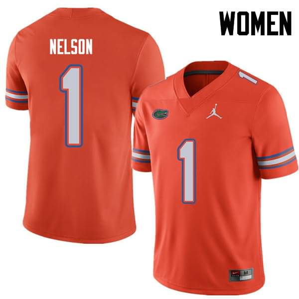 Women's Florida Gators #1 Reggie Nelson Orange Jordan Brand NCAA College Football Jersey WFY048XJ
