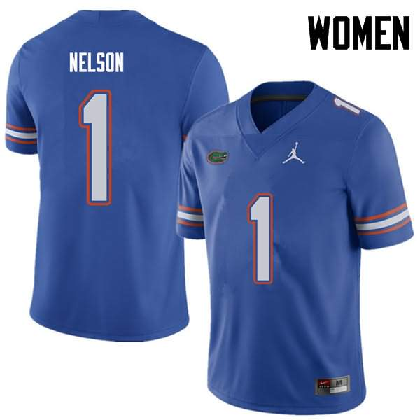 Women's Florida Gators #1 Reggie Nelson Royal Jordan Brand NCAA College Football Jersey QZV150LJ