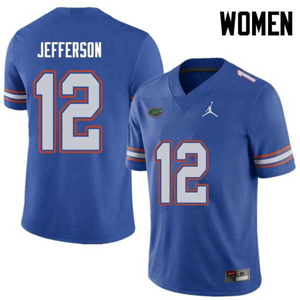 Women's Florida Gators #12 Van Jefferson Royal Jordan Brand NCAA College Football Jersey XMB514FJ