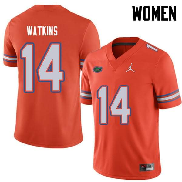 Women's Florida Gators #14 Justin Watkins Orange Jordan Brand NCAA College Football Jersey AQX460IJ