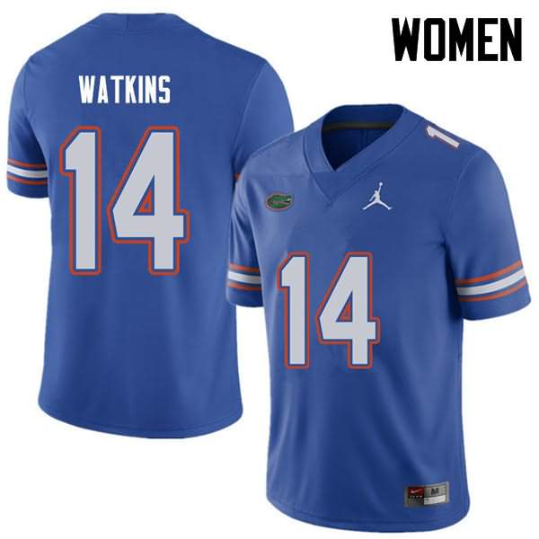 Women's Florida Gators #14 Justin Watkins Royal Jordan Brand NCAA College Football Jersey IPV874UJ