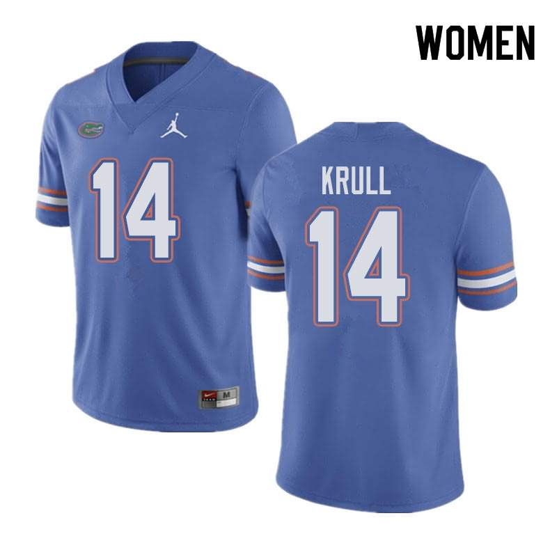 Women's Florida Gators #14 Lucas Krull Blue Jordan Brand NCAA College Football Jersey COK528JJ