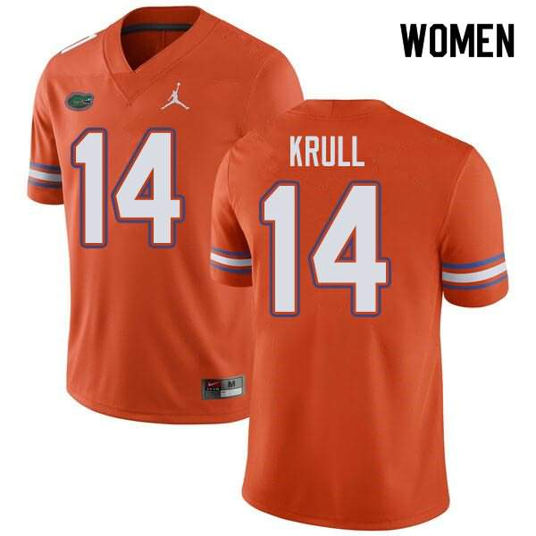 Women's Florida Gators #14 Lucas Krull Orange Jordan Brand NCAA College Football Jersey OQC306NJ