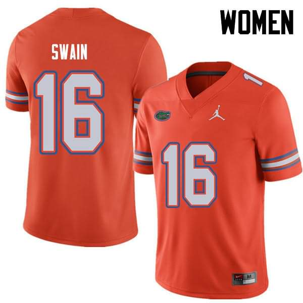 Women's Florida Gators #16 Freddie Swain Orange Jordan Brand NCAA College Football Jersey BJM504LJ
