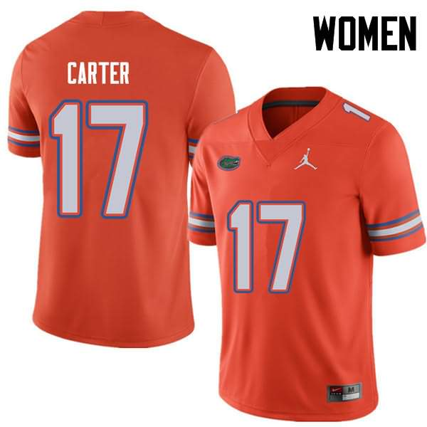 Women's Florida Gators #17 Zachary Carter Orange Jordan Brand NCAA College Football Jersey UAF777KJ