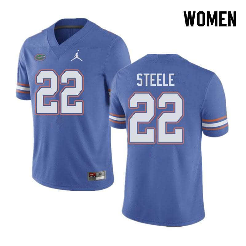 Women's Florida Gators #22 Chris Steele Blue Jordan Brand NCAA College Football Jersey TKD405YJ