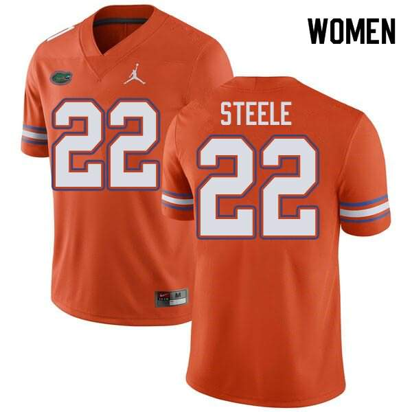 Women's Florida Gators #22 Chris Steele Orange Jordan Brand NCAA College Football Jersey OSS526IJ