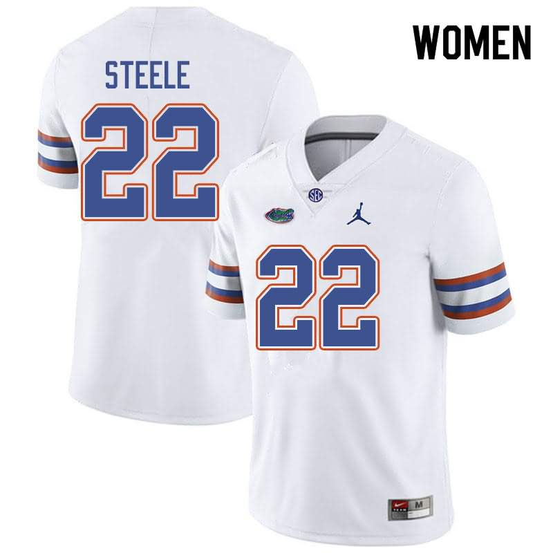 Women's Florida Gators #22 Chris Steele White Jordan Brand NCAA College Football Jersey BFF660TJ