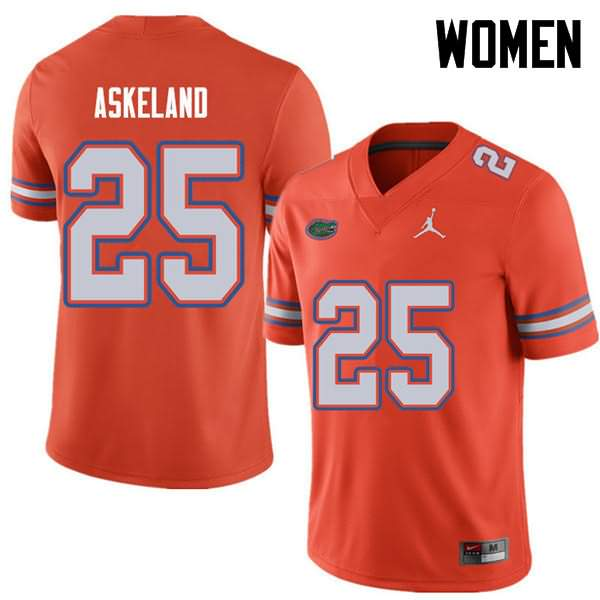 Women's Florida Gators #25 Erik Askeland Orange Jordan Brand NCAA College Football Jersey IJR237BJ