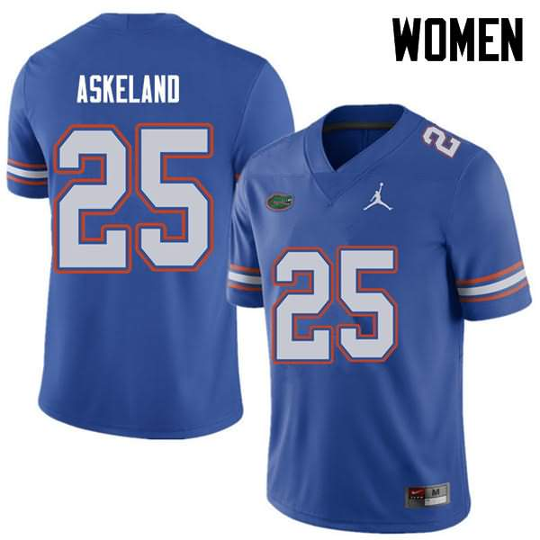 Women's Florida Gators #25 Erik Askeland Royal Jordan Brand NCAA College Football Jersey GHK832IJ