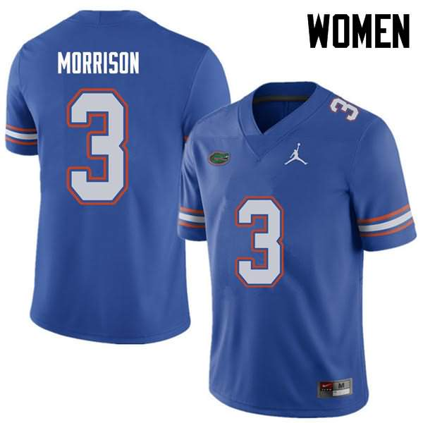 Women's Florida Gators #3 Antonio Morrison Royal Jordan Brand NCAA College Football Jersey NLF083NJ