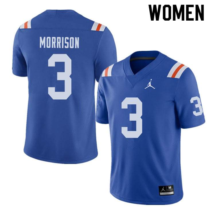 Women's Florida Gators #3 Antonio Morrison Alternate Throwback Jordan Brand NCAA College Football Jersey IHE520MJ