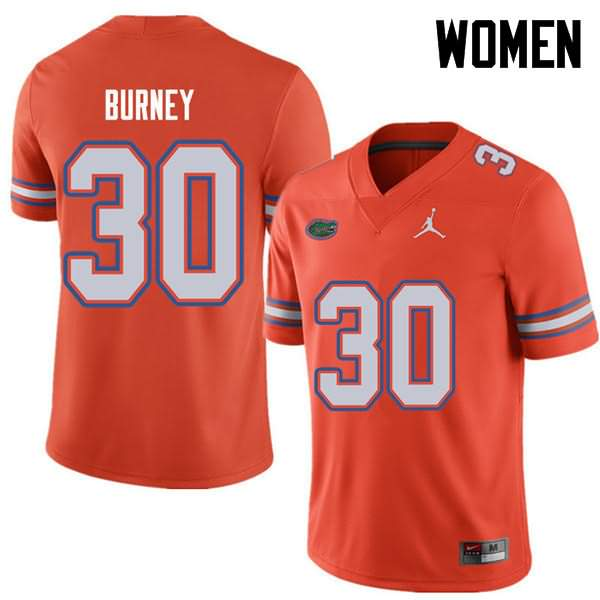 Women's Florida Gators #30 Amari Burney Orange Jordan Brand NCAA College Football Jersey NWL221TJ