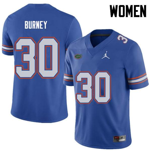 Women's Florida Gators #30 Amari Burney Royal Jordan Brand NCAA College Football Jersey TYJ657QJ