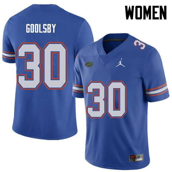 Women's Florida Gators #30 DeAndre Goolsby Royal Jordan Brand NCAA College Football Jersey SJM764DJ
