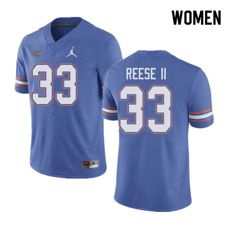 Women's Florida Gators #33 David Reese II Blue Jordan Brand NCAA College Football Jersey LXV326MJ