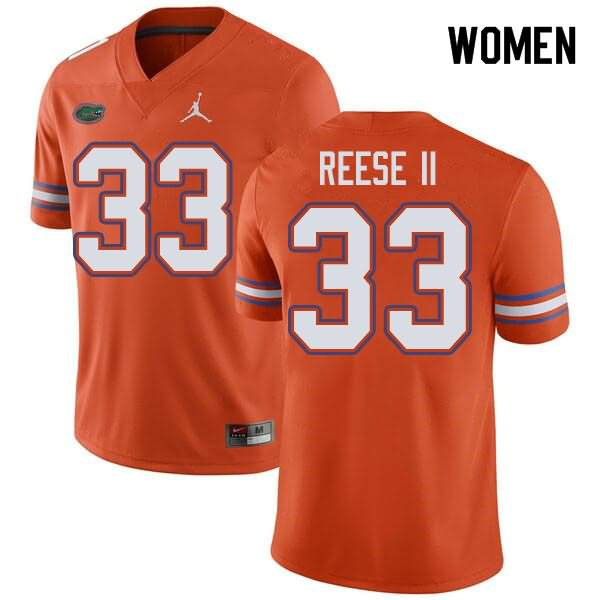 Women's Florida Gators #33 David Reese II Orange Jordan Brand NCAA College Football Jersey GOA386JJ