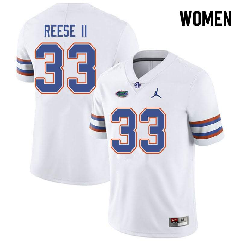 Women's Florida Gators #33 David Reese II White Jordan Brand NCAA College Football Jersey BMV713EJ
