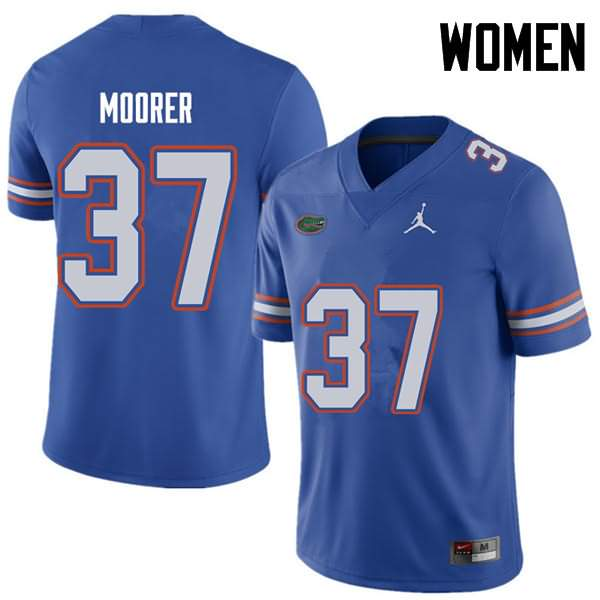 Women's Florida Gators #37 Patrick Moorer Royal Jordan Brand NCAA College Football Jersey EDD027IJ