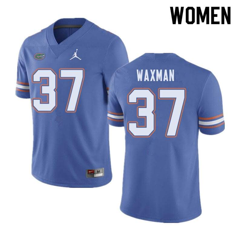 Women's Florida Gators #37 Tyler Waxman Blue Jordan Brand NCAA College Football Jersey HKD407ZJ