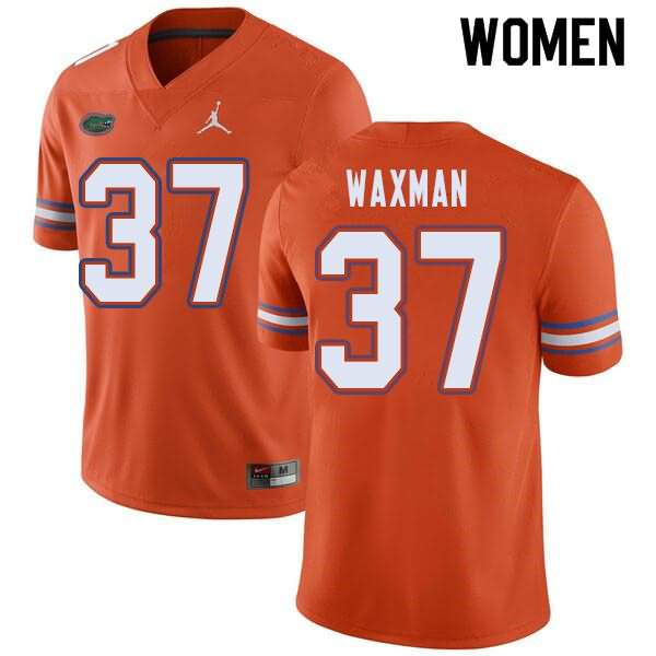 Women's Florida Gators #37 Tyler Waxman Orange Jordan Brand NCAA College Football Jersey FGK363YJ