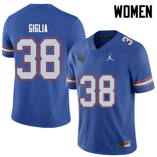 Women's Florida Gators #38 Anthony Giglia Royal Jordan Brand NCAA College Football Jersey DWL086CJ