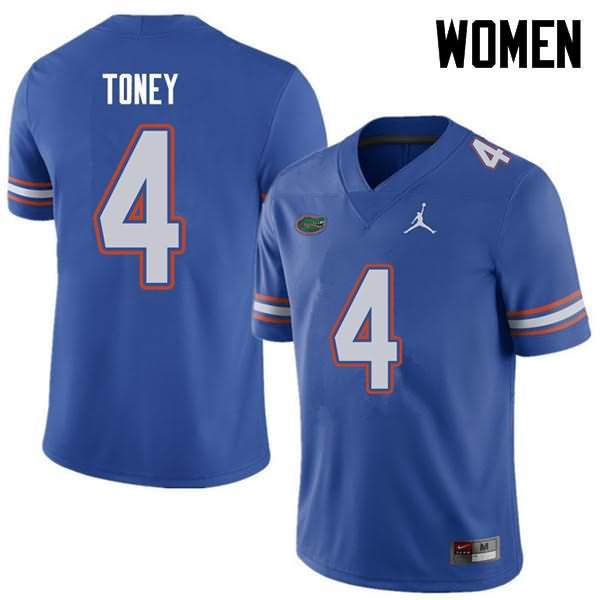 Women's Florida Gators #4 Kadarius Toney Royal Jordan Brand NCAA College Football Jersey YGR674UJ