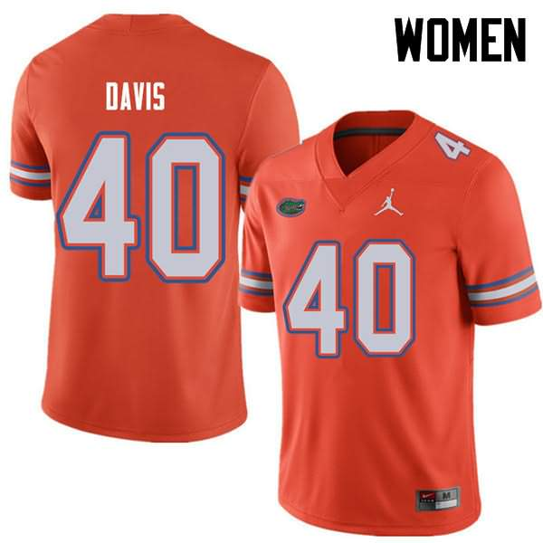 Women's Florida Gators #40 Jarrad Davis Orange Jordan Brand NCAA College Football Jersey BRH473RJ