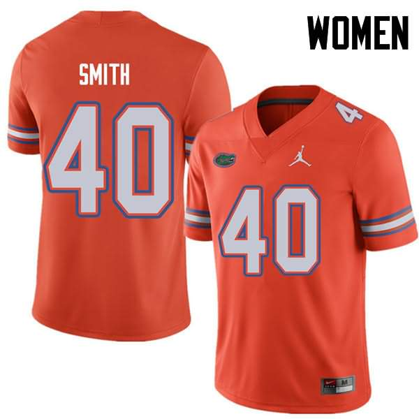 Women's Florida Gators #40 Nick Smith Orange Jordan Brand NCAA College Football Jersey NDN157NJ
