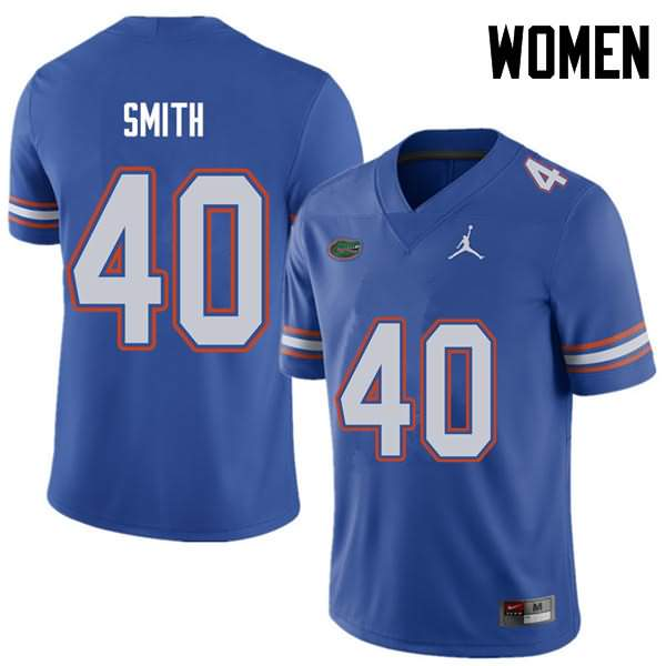 Women's Florida Gators #40 Nick Smith Royal Jordan Brand NCAA College Football Jersey DJQ415SJ
