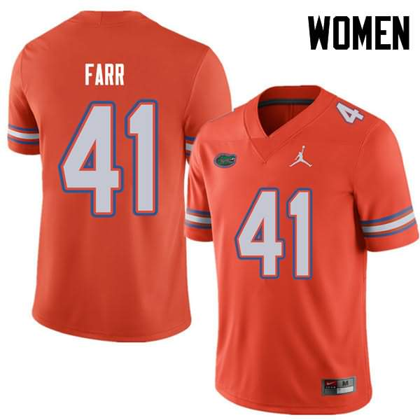 Women's Florida Gators #41 Ryan Farr Orange Jordan Brand NCAA College Football Jersey JEP022HJ