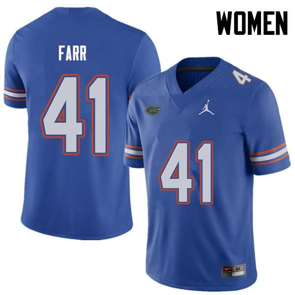 Women's Florida Gators #41 Ryan Farr Royal Jordan Brand NCAA College Football Jersey IDD527LJ